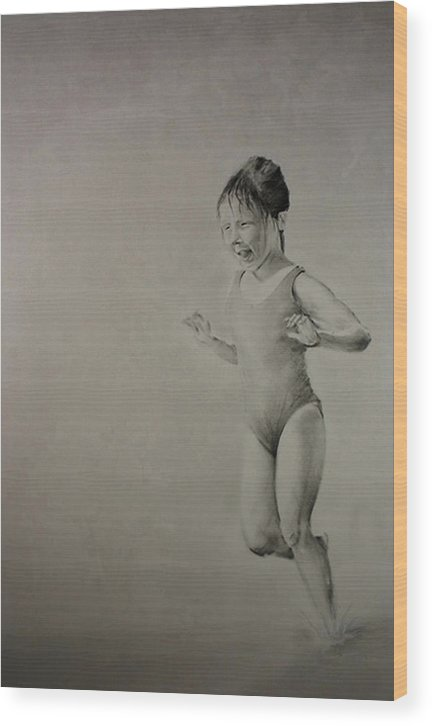 Children Wood Print featuring the drawing Running On Water by John C
