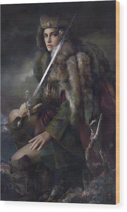 Warrioress Wood Print featuring the painting Viktoria by Eve Ventrue