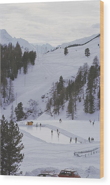 People Wood Print featuring the photograph Curling At St. Moritz by Slim Aarons