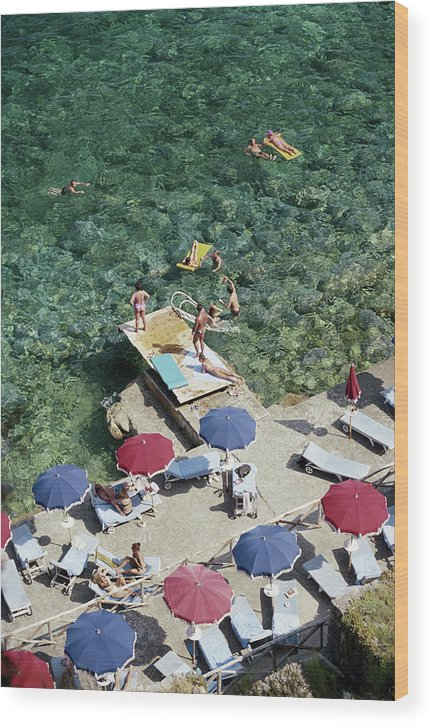 People Wood Print featuring the photograph Porto Ercole Beach by Slim Aarons