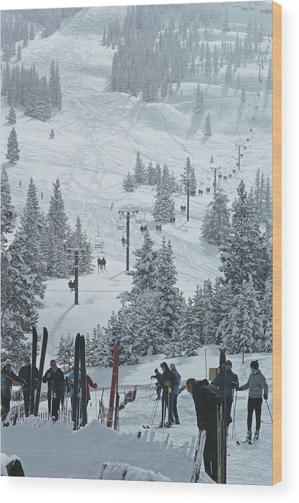Ski Pole Wood Print featuring the photograph Skiing In Vail by Slim Aarons