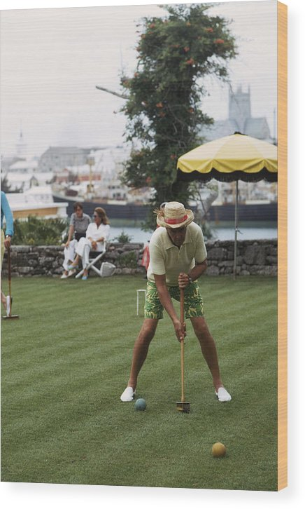 Straw Hat Wood Print featuring the photograph Croquet by Slim Aarons
