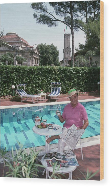 Straw Hat Wood Print featuring the photograph Sirio Maccioni by Slim Aarons