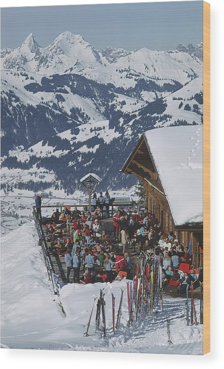 Gstaad Wood Print featuring the photograph Eagle Club by Slim Aarons