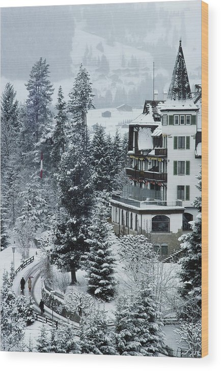 Gstaad Wood Print featuring the photograph Grand Hotel Alpina by Slim Aarons