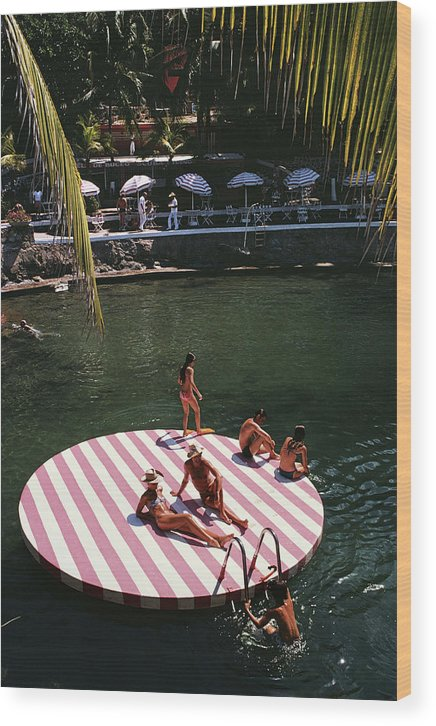 People Wood Print featuring the photograph La Concha Beach Club by Slim Aarons