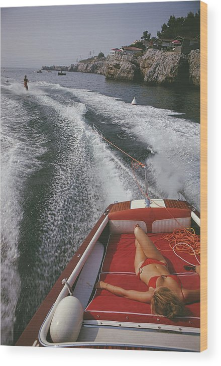 People Wood Print featuring the photograph Leisure In Antibes by Slim Aarons