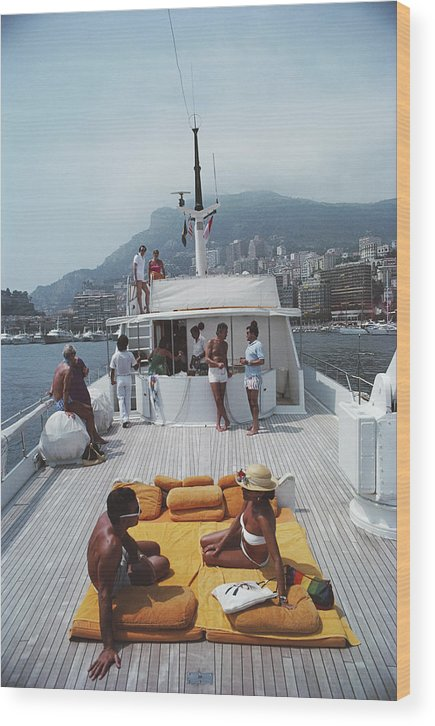 1980-1989 Wood Print featuring the photograph Scottis Yacht by Slim Aarons