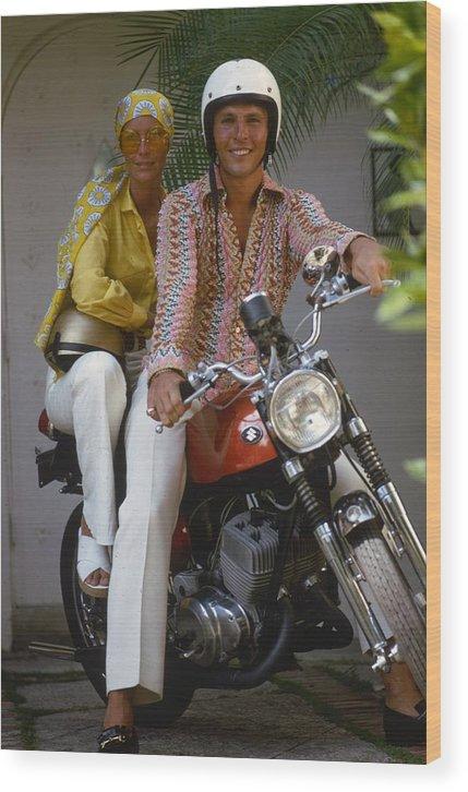 Sports Helmet Wood Print featuring the photograph Socialite Bikers by Slim Aarons