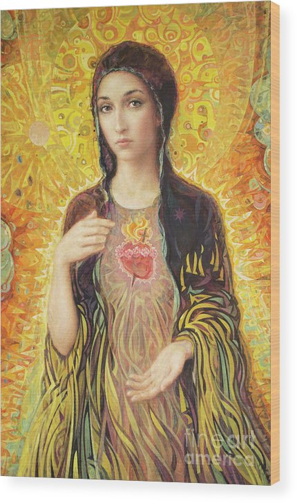 Immaculate Heart Of Mary Wood Print featuring the painting Immaculate Heart of Mary olmc by Smith Catholic Art