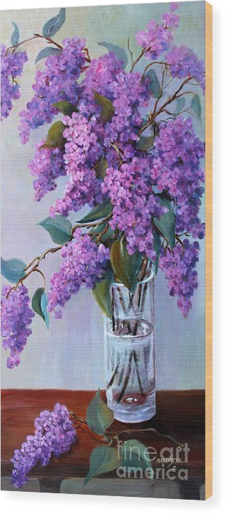 Flowers Wood Print featuring the painting It is Lilac Time by Marta Styk