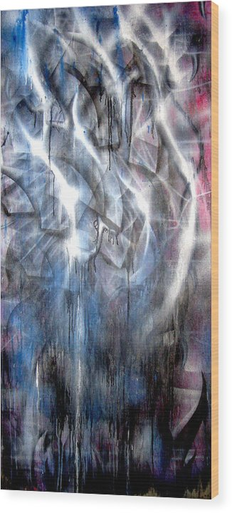 Abstract Wood Print featuring the painting Rain III by Leigh Odom