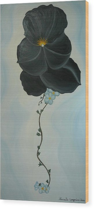 Marinella Owens Wood Print featuring the painting Black Pansi by Marinella Owens