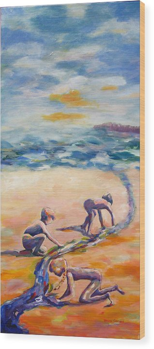 Our Kids Playing On The Beach Creating A River That They Feel Very Protective Of.  Wood Print featuring the painting Protecting Our River by Naomi Gerrard
