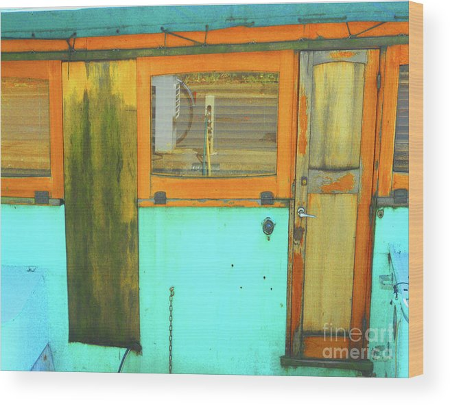 Abstract Wood Print featuring the photograph Blue Boat by Lauren Leigh Hunter Fine Art Photography