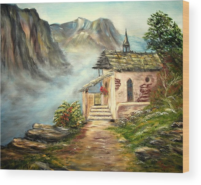 Landscape Wood Print featuring the painting Church in the Alps by Kenneth LePoidevin