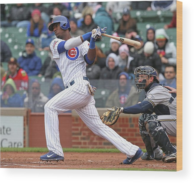 National League Baseball Wood Print featuring the photograph Milwaukee Brewers V Chicago Cubs by Jonathan Daniel