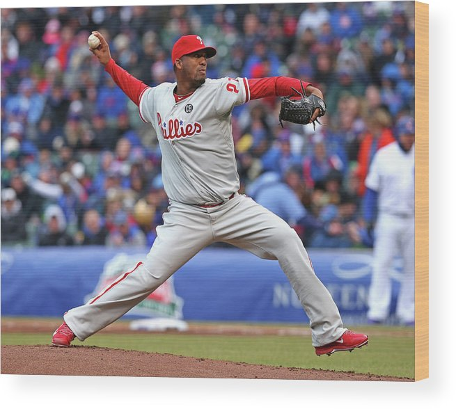 Ball Wood Print featuring the photograph Philadelphia Phillies V Chicago Cubs by Jonathan Daniel