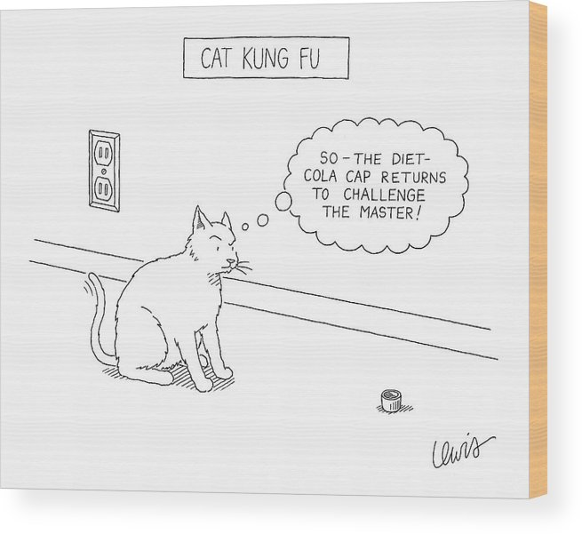 Cats Talking Interiors Sports Wood Print featuring the drawing Cat Kung Fu by Eric Lewis