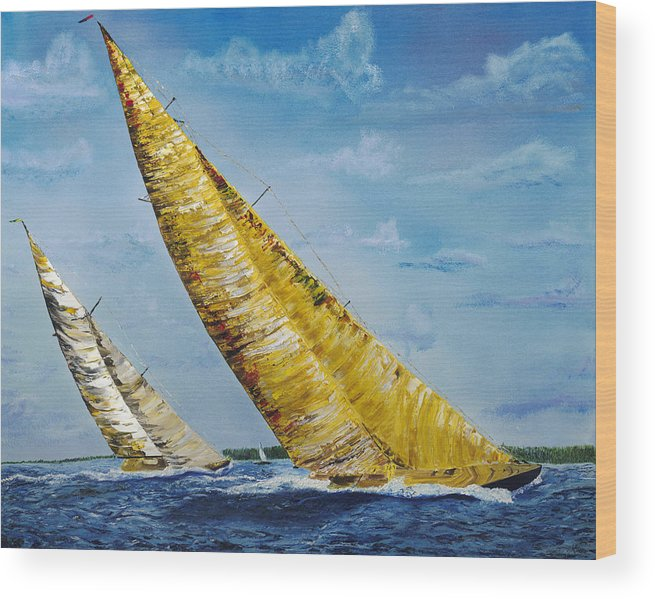Sailboat Wood Print featuring the painting Americas Cup Sailboat Race by Modern Impressionism