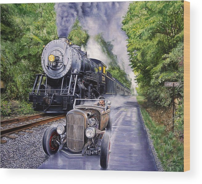 Hot Rod Wood Print featuring the painting Backwoods Duel by Ruben Duran