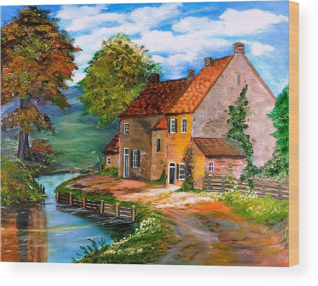 Landscape Wood Print featuring the painting River House by Kenneth LePoidevin