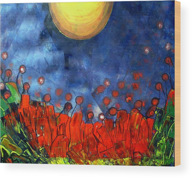 Sun Wood Print featuring the painting A New Day by Pilar Martinez-Byrne