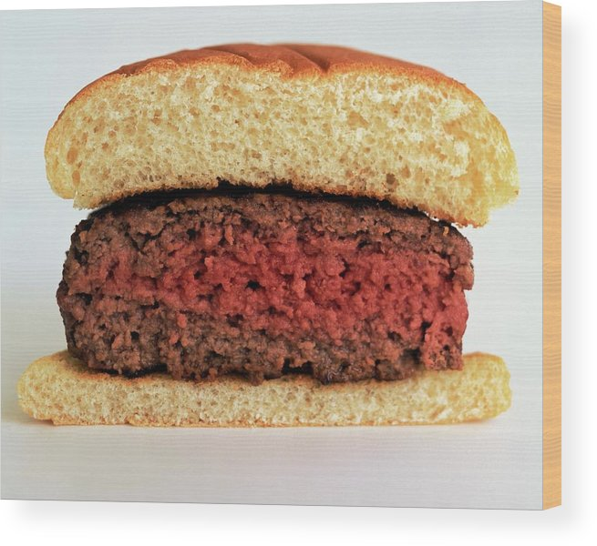 Cooking Wood Print featuring the photograph A Rare Hamburger by Romulo Yanes
