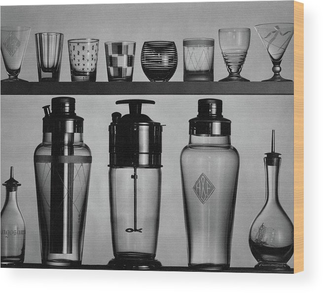 Accessories Wood Print featuring the photograph A Row Of Glasses On A Shelf by The 3