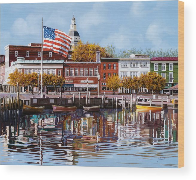 Annapolis Wood Print featuring the painting Annapolis MD by Guido Borelli