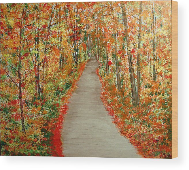 Landscape - Nature Wood Print featuring the painting Autumn's moment by Marco Morales