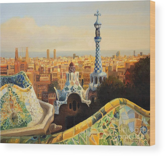 Antoni Gaudi Wood Print featuring the painting Barcelona Park Guell by Kiril Stanchev