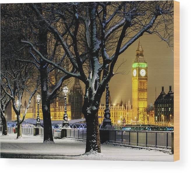 Tranquility Wood Print featuring the photograph Big Ben And Houses Of Parliament In Snow by Shomos Uddin