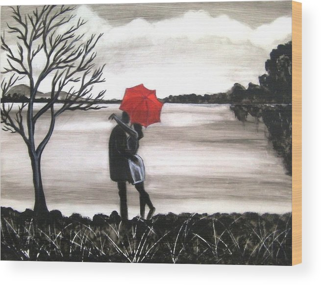 Love Valentine Romance Romantic Wood Print featuring the painting Bound by Love by Manjiri Kanvinde