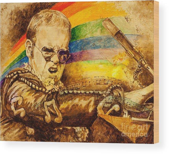 Elton John Wood Print featuring the painting Captain Fantastic by Igor Postash