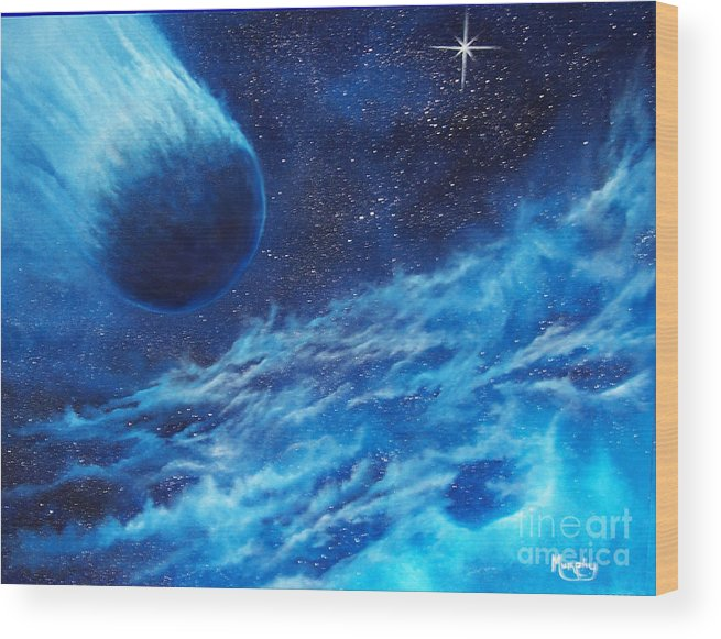 Astro Wood Print featuring the painting Comet Experience by Murphy Elliott