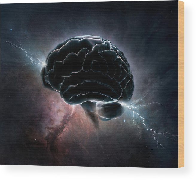Brain Wood Print featuring the digital art Cosmic Intelligence by Johan Swanepoel
