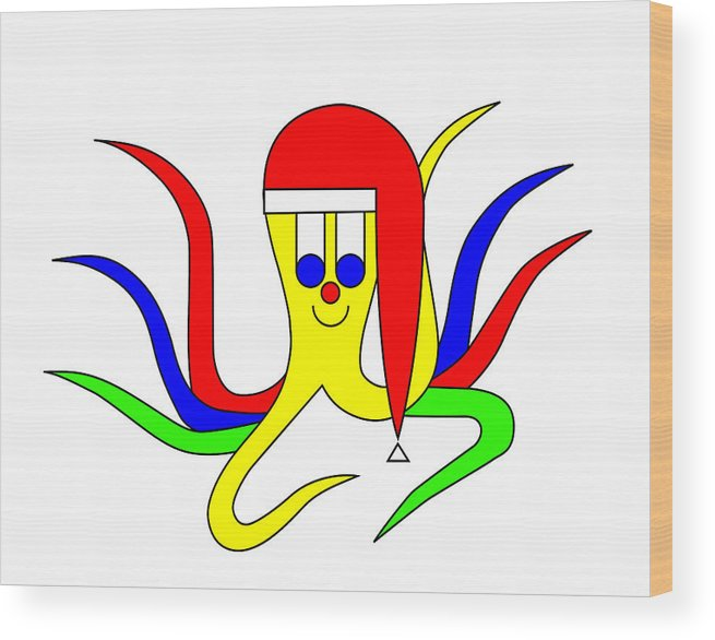 Cuttlefish Octo Pus Wishes You A Merry Christmas Wood Print featuring the digital art Cuttlefish Octo Pus wishes you a Merry Christmas by Asbjorn Lonvig