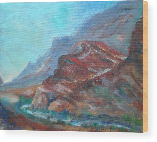Virgin River Gorge Wood Print featuring the painting Dawn In The Gorge by Bryan Alexander