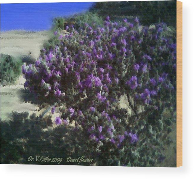 Landscape Wood Print featuring the digital art Desert flowers by Dr Loifer Vladimir