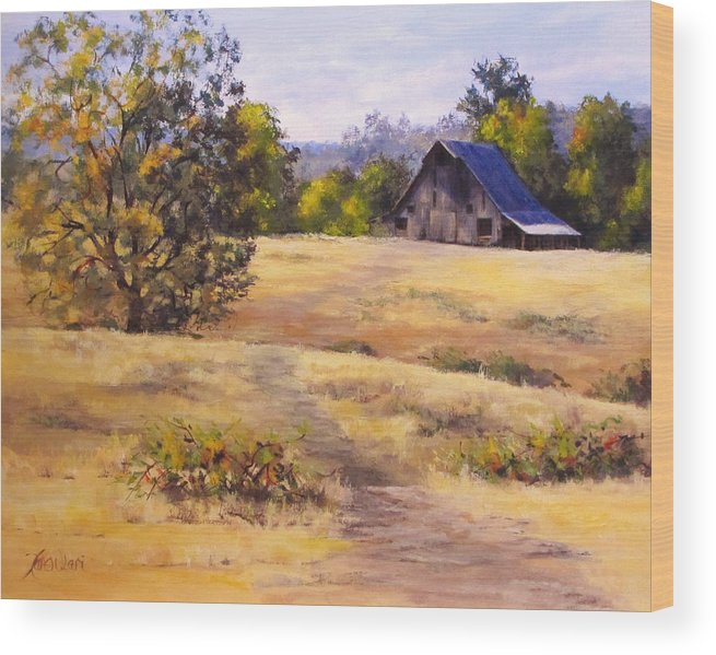 Landscape Wood Print featuring the painting Edge of Autumn by Karen Ilari