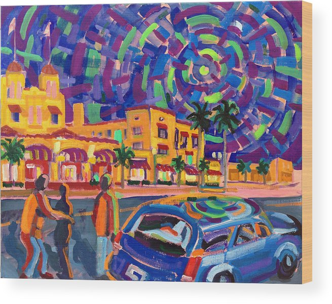 Delray Beach Wood Print featuring the painting Evening in Delray Beach by Ralph Papa