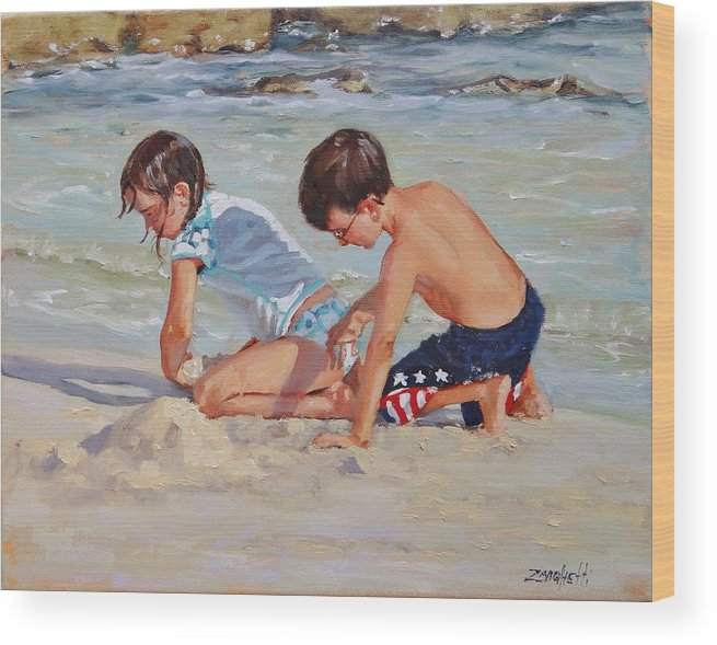 Children Wood Print featuring the painting Family Day by Laura Lee Zanghetti