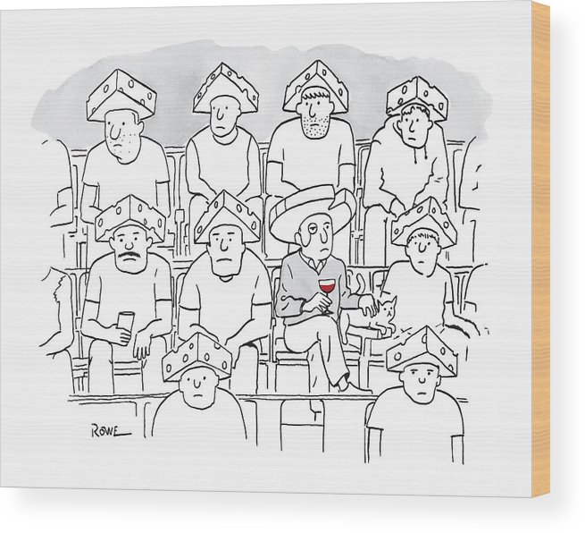 Captionless Wood Print featuring the drawing Fans At A Football Game Sit In The Stands Wearing by Julian Rowe