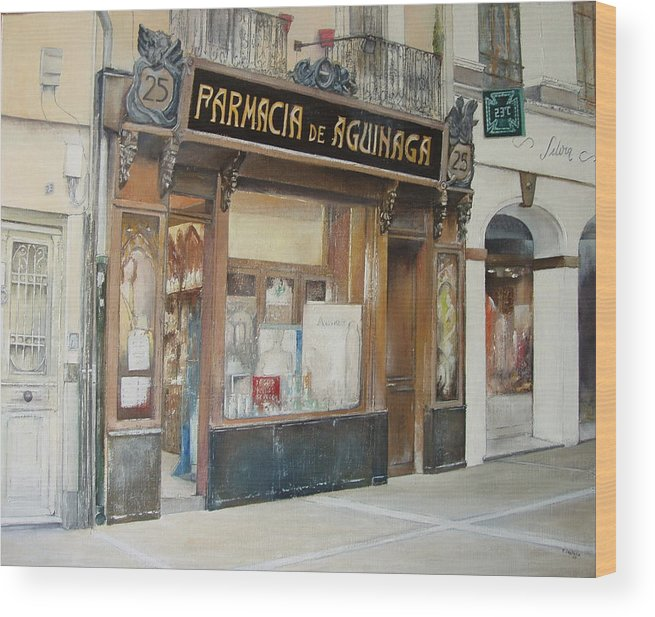 Farmacia Wood Print featuring the painting Farmacia de Aguinaga-Pamplona by Tomas Castano
