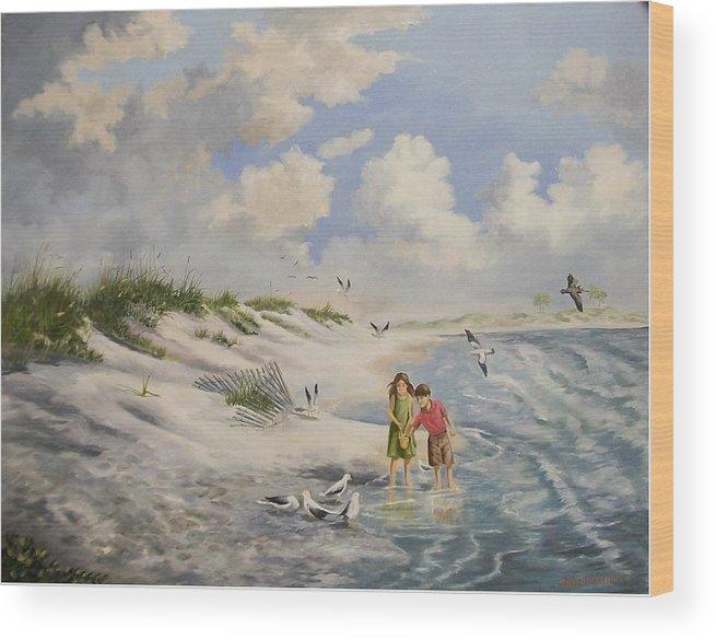 2 Children Wood Print featuring the painting Feeding the Wildlife by Wanda Dansereau