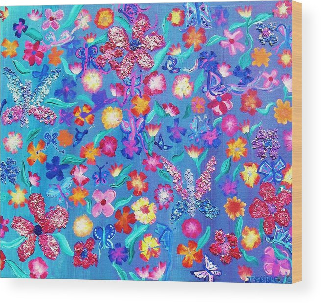 Floral Wood Print featuring the painting Flowers and butterflies by J Andrel