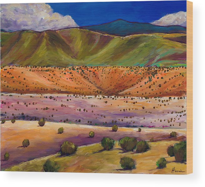 New Mexico Wood Print featuring the painting Foothill Approach by Johnathan Harris