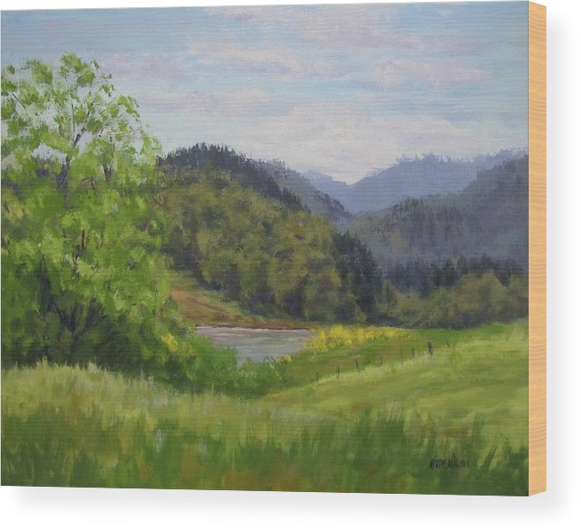 Pond Wood Print featuring the painting Ford's Pond in Spring by Karen Ilari