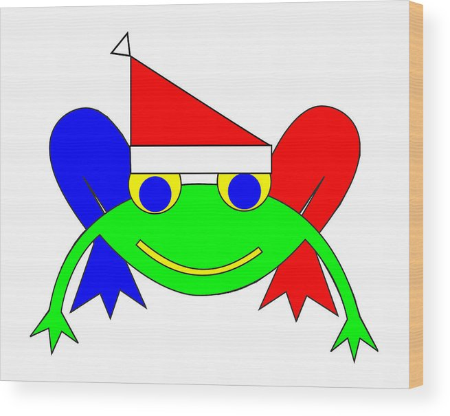 Frederic The Frog Whishes You A Merry Christmas Wood Print featuring the digital art Frederic the Frog whishes you a Merry Christmas by Asbjorn Lonvig
